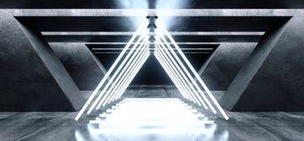 El triángulo formó cinemático azul blanco del espacio del Grunge de las luces de neón del laser del garaje de la galería subterrá ilustración del vector