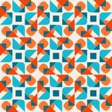 El triángulo redondeado geométrico inconsútil del vector forma el fondo cuadrado de Teal Orange Pattern On White Fotos de archivo libres de regalías