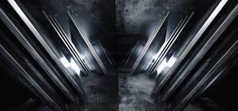 El triángulo virtual futurista del extracto de la nave espacial de Sci Fi formó el pasillo cinemático vacío oscuro del tono blanc stock de ilustración