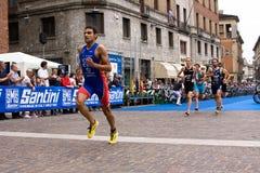 El Triathlon europeo Sprint del ITU de Crémona ahueca Imágenes de archivo libres de regalías