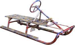 El trineo antiguo de la nieve del vintage aisló, juguete del invierno imagen de archivo libre de regalías