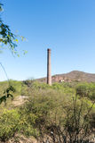 El Triunfo brick Smelter smoke stack, Baja Mexico. This abandoned smelter smokestack is the remnants of a old silver mine in the desert of Baja Mexico Royalty Free Stock Photos