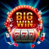 El triunfo grande ranura el casino de 777 banderas Foto de archivo libre de regalías