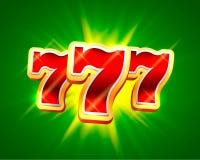 El triunfo grande ranura el fondo del casino de 777 banderas Imagen de archivo libre de regalías