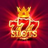 El triunfo grande ranura el fondo del casino de 777 banderas Fotos de archivo libres de regalías