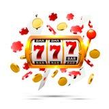 El triunfo grande ranura el fondo del casino de 777 banderas Imágenes de archivo libres de regalías