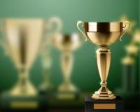 El trofeo concede el fondo realista ilustración del vector