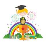 El trofeo de Standing On Golden del estudiante de la graduación representa al concepto de la educación del éxito stock de ilustración