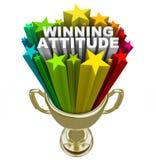 El trofeo del oro de la actitud que gana protagoniza los fuegos artificiales buen Vision Fotografía de archivo libre de regalías