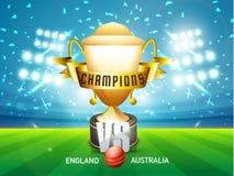 El trofeo que gana para Inglaterra contra el grillo de Australia hace juego Imagenes de archivo