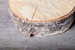 El tronco del abedul del corte en viejo fondo de madera Foco selectivo S Imagenes de archivo
