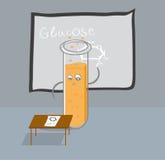 El tubo de ensayo escribe fórmula de la glucosa en la pizarra Imagen de archivo libre de regalías