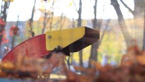 El tubo de escape con el follaje de otoño almacen de video