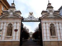 El tubo principal a la universidad de Varsovia Foto de archivo