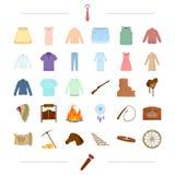El turismo, la América, los vaqueros y el otro icono del web en estilo de la historieta stock de ilustración