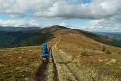 El turista con una mochila camina a lo largo del canto Fotos de archivo libres de regalías