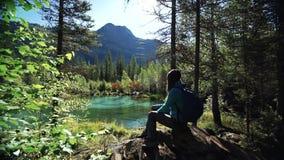 El turista de la mujer joven se está sentando en una piedra y está disfrutando de la vista escénica del lago hermoso del montain  metrajes