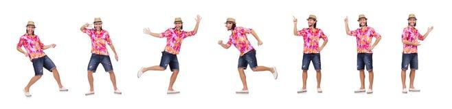 El turista divertido aislado en blanco imagen de archivo