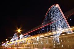 El un roller coaster grande en Blackpool, Reino Unido Imagenes de archivo