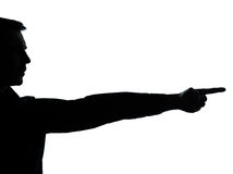 El un señalar de la silueta de la mano del hombre de negocios Imagenes de archivo