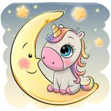 El unicornio de la historieta en un sombrero experimental se está sentando en la luna stock de ilustración