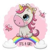 El unicornio de la historieta está en el arco iris ilustración del vector