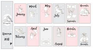 El unicornio lindo carda, para la fiesta de bienvenida al bebé, las tarjetas, cumpleaños, en vector Imágenes de archivo libres de regalías