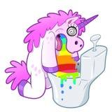 El unicornio vomita el arco iris en el retrete ilustración del vector