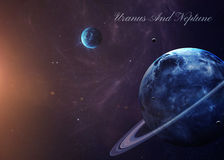 El Urano con las lunas del espacio que los muestra a todos Foto de archivo libre de regalías