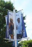 El US Open 2012 defiende los portrets de Serena Williams y de Andy Murray en Billie Jean King National Tennis Center Fotografía de archivo libre de regalías