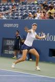 El US Open 2014 dobles de las mujeres defiende a Ekaterina Makarova durante partido final en Billie Jean King National Tennis Cen Foto de archivo libre de regalías