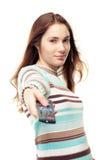 El usar de la muchacha teledirigido Fotografía de archivo libre de regalías