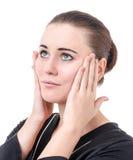 El uso de los cosméticos para el cuidado de piel Fotos de archivo libres de regalías