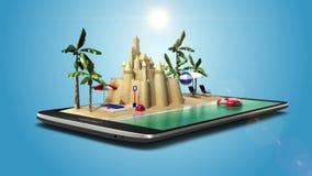 El uso tocado del viaje de las vacaciones, se prepara para viajar para las vacaciones de verano, viaje en PED elegante, móvil, te libre illustration