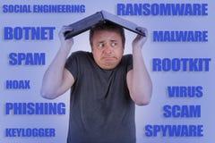 El usuario del ordenador amenazó por el timo, ransomware, phishing, virus y foto de archivo libre de regalías