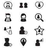 El usuario, grupo, iconos de la relación fijó para el applicatio social de la red Foto de archivo