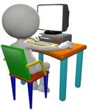 El utilizador del ordenador utiliza el monitor de la PC de la historieta 3D Foto de archivo
