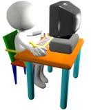 El utilizador del ordenador utiliza vista lateral de la PC de la historieta 3D Foto de archivo libre de regalías