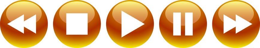 El vídeo audio abotona amarillo de oro stock de ilustración