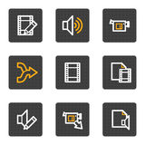 El vídeo audio corrige los iconos del Web, serie de los botones del gris Fotos de archivo libres de regalías