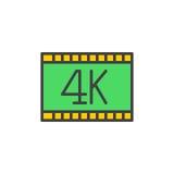 el vídeo 4k llenó el icono del esquema, muestra del vector Fotografía de archivo