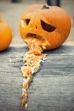 El vómito de la calabaza de Halloween lanza para arriba en el tronco de árbol Foto de archivo libre de regalías