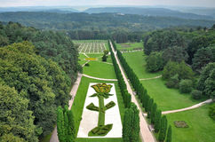 El valle de rosas en parque del centro turístico de Kislovodsk La visión desde el teleférico Fotos de archivo libres de regalías