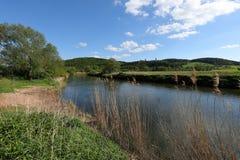 El valle de Werra entre Hesse y el Thuringia en Alemania Fotos de archivo