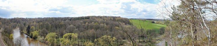El valle de Zschopau en Erzgebirge Foto de archivo