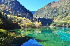 El valle Jiuzhaigou con su reflexión en un lago Fotos de archivo libres de regalías