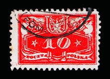 El valor nominal abajo, funcionario sella el serie 1920, circa 1920 Imagen de archivo libre de regalías