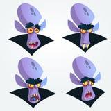 El vampiro de la historieta dirige iconos Ejemplo del vector de las emociones del vampiro stock de ilustración