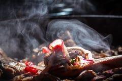 El vapor sube de la carne de vaca guisada caliente en el sartén Imagenes de archivo