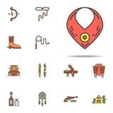 El vaquero \ el 'cobarde de s colorearon el icono Sistema universal de los iconos del oeste salvajes para la web y el móvil ilustración del vector